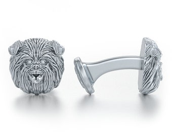 Affenpinscher Breed Cufflinks in Oxidized Sterling Silver for all the Dog, Puppy, and Pet Lovers