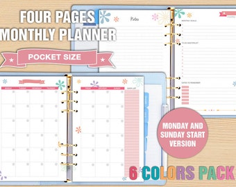 Pocket size monthly planner printable planner pages monthly spread notes pages to do list