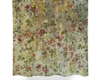 Antique Look Flowers Shower Curtain