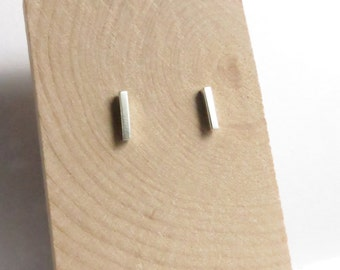 Minimalist Small Sterling Silver Bar Studs. Silver Bar Studs. Silver line earrings. Small bar earrings. Gifts for her.