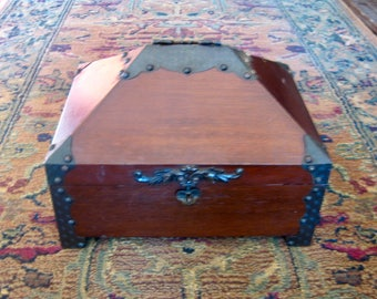 Vintage Wood and Metal Chest, Jewelry Box, Pyramid Lid, Secret Compartment, Gold Velvet Lining, Arts and Crafts Style