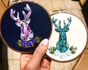 Geometric Deer  Embroidery Hoop
