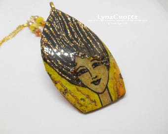Summer Wind polymer clay pendant necklace charm resin one of a kind handmade