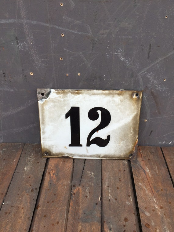 Early 1900's German Enamel Number 12 House Number Plate