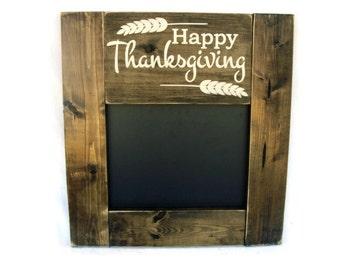 Thanksgiving Menu Chalkboard Rustic Wood Framed Wall Decor (#1215-CB)