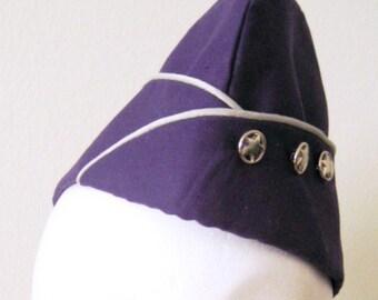 "Garrison Cap - Purple and Silver - Flight Hat - Aviator - Size 22.5"" - Ready To Ship"