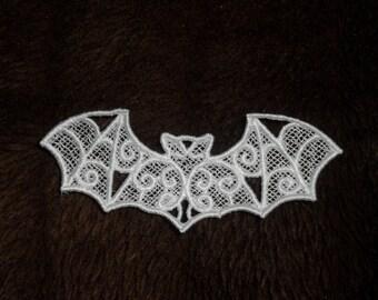 UK set of 3 white gothic lace bat applique, trimming, choker centerpiece, cuff, wedding