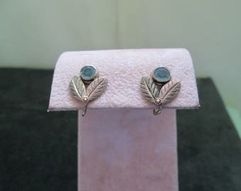 Aquamarine Screw Back Leaf Earrings 1930's