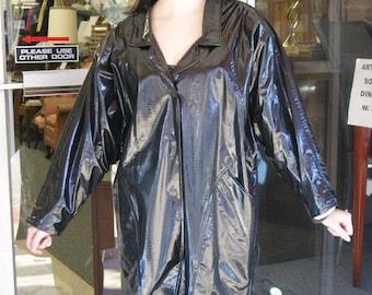 Vintage Black Vinyl Jacket Coat Zebra Print Lining By Wippette