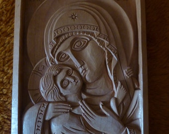 Hand Carved Religious Icon Virgin Mary and Child Wooden Christian Madonna Wall Wood Art Woodcraft Woodworking 6.69 x 9.84″ - MADE TO ORDER