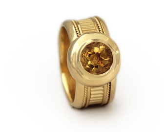 Gold engagement ring, Citrine Ring, Gemstone Ring, golden Citrine ring, anniversary ring, Promise Ring,November birthstone ring, yellow ring