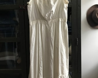 Vintage antique edwardian cotton under dress night gown slip summer dress eyelet and lace