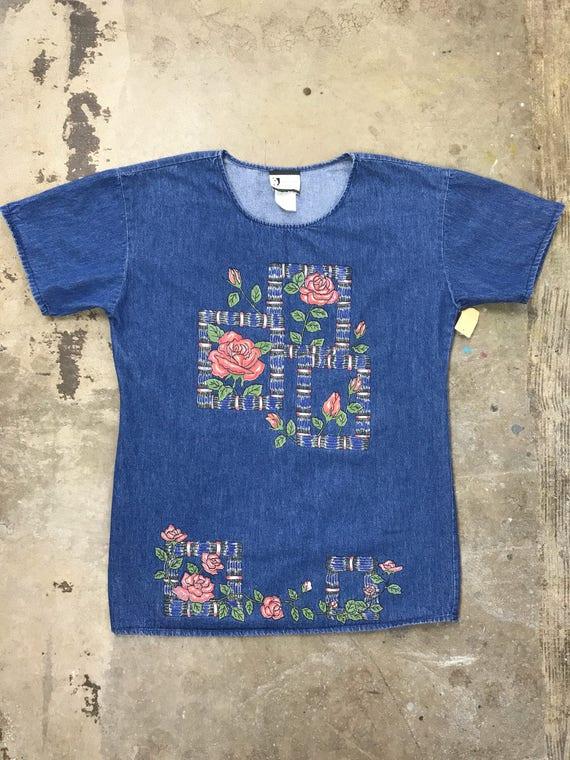 90s Denim Glitter Floral Tunic