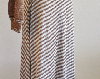 Vintage 60s 70s WENJILLI Copper Silver Metallic Knit Striped Acrylic Sweater Maxi Dress Hong Kong