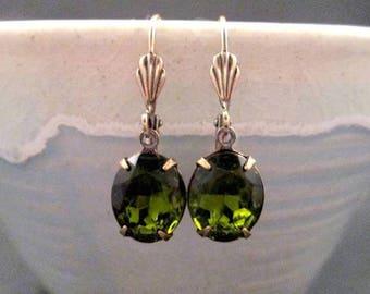 Rhinestone Earrings, Olive Green, Glass Rhinestone and Brass Dangle Earrings, FREE Shipping U.S.