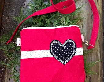 Love red with polka dot heart applique crossbody bag, zippered bag, heart applique bag, heart on red crossbody bag,red bag with heart design