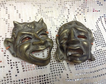 Vintage Brass Thespian Theatrical Comedy Tragedy Gold Wall Masks Retro wall art