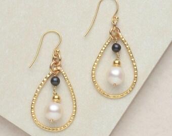Golden Hoop Earrings, White Pearl Earrings, Black Pearl Earrings, Gold-Plated Sterling Silver, Handmade Earrings, Oval Earrings