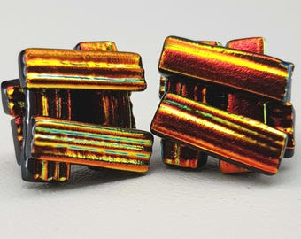 Dichroic Glass Stud Earrings - 925 Silver - post earrings - Glass Earrings - Red - Orange