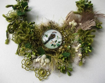 Green forest necklace... mori girl necklace, spring vintage boho bib glass cabochon necklace inspired by nature, forest bird fairy necklace.
