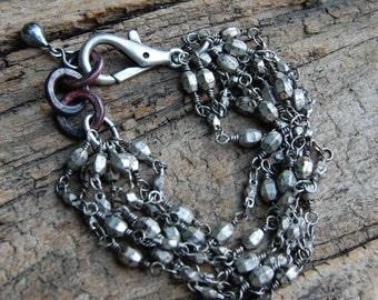 Antiqued Pewter Chain & Oxidized Copper Bracelet