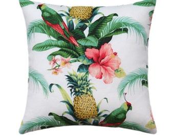 Hibiscus Flower Zippered Pillow Cover, Dark Green Banana Leaf Outdoor Pillow, Pineapple Pillow, Hawaiian Pillow, Beach Bounty Lush Pillow