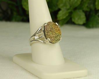 Golden Druzy Ring, Size 10,  Copper Tones, Fine Grain Sparkle, Sterling Silver, Drusy Ring, Oval Golden Druzy