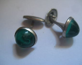 Rhodium Plated Victorian Cufflinks with Green Stones Or Silver and Gold