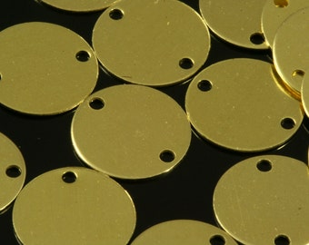 100 Pcs Raw Brass 12 mm Circle tag 2 hole connector Charms ,Findings 69R-44