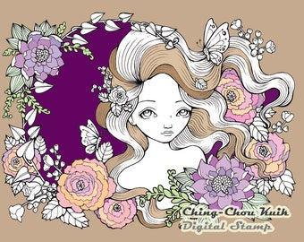 Twilight Garden - Digital Stamp PRINTABLE Instant Download / Butterfly Flora Flower Fairy Fantasy Line Art by Ching-Chou Kuik