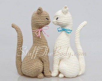 Cat Princess Amigurumi Pattern, Realistic Cat Crochet Pattern, home decor pattern, crochet sculpture, eco art, wedding decoration, toy