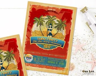 Summer Fun Invitations Template Beach Party Pool Party Printable DIY Event Invitation Beach Luau Birthday Invite Teen Party Invites