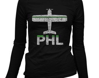 Women's Fly Philadelphia Long Sleeve Tee - PHL Airport - S M L XL 2x - Ladies' Philadelphia T-shirt, Philly, Pennsylvania - 1 Color