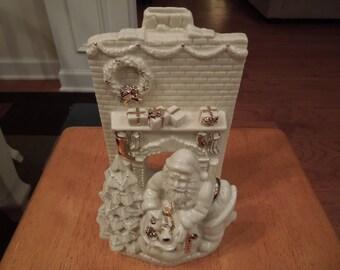 Christmas Ornament.  Lenox Santa Fireplace Votive or Tea Light Holder.  Signed.
