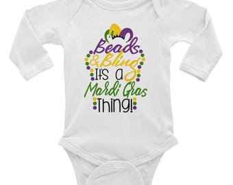 Beads and Bling it's a Mardi Gras Thing Infant Long Sleeve Bodysuit
