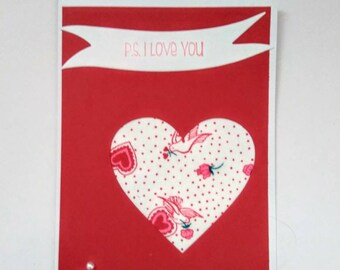 P.S. I Love You Handmade Card, Blank Card.