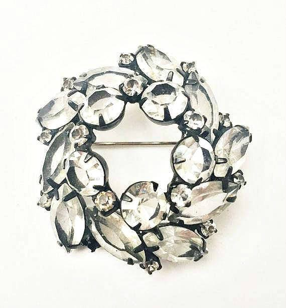 Clear Rhinestone Brooch - Black Japaned setting - Domed open back Crystal - Wreath Pin