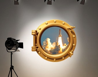 Wall Decal Space Shuttle Full Colour Brass Gold Porthole Wall Sticker Rocket