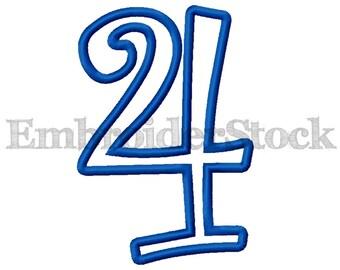 10 Sizes - Curlz Applique Numbers Set Machine Embroidery Curlz Applique Number Design