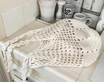 Farmhouse Mesh Market Bag, Farmer's Market Eco Shopping Produce Crochet Pattern