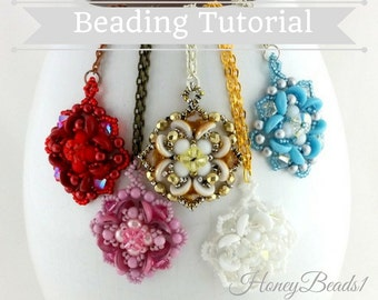 PDF-file Beading Pattern Lucky Clover Pendant Necklace PDF-file Beading Tutorial by HoneyBeads1