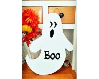 Boo The Ghost, Halloween Decor, Fall Decor, Wooden Halloween Sign, Halloween Ghost, Wooden Ghost