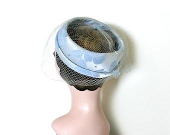 Vintage Sky Blue Veil Hat/ Head Piece ~ 1960's