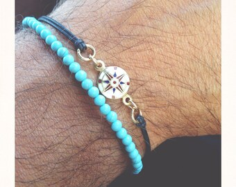 Bracelet with genuine freshwater pearls and turquoise paste