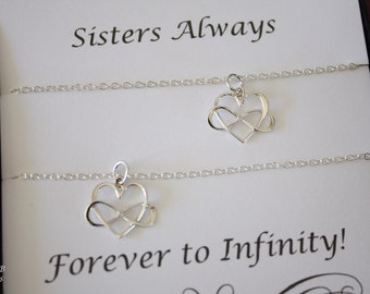 Friendship Necklace Gift Set, 2 Infinity Heart Necklaces, BFF, Set of two, Sterling Silver, Sisters, Sorority Sisters, Best Friends