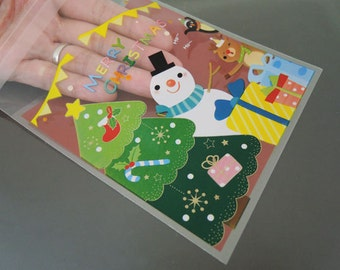 Christmas Plastic Bags - Snowman Gift Bag Cookie Bags Self Adhesive Resealable Biscuit Bag Gift Packaging Supply 48pcs