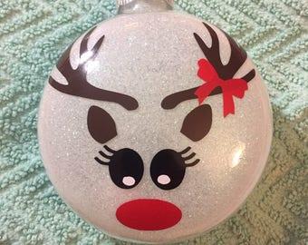 Reindeer girl glass Christmas ornament
