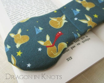 Fox Book Weight - blue page holder, weighted bookmark, fennec fox book accessory, stars, mountains, fairy tale, fable, clever fox, reading