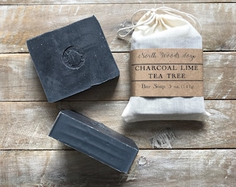 Activated Charcoal Lime Tea Tree Soap | Detox Soap | Charcoal Soap | Black Soap | Mens Soap | Soap Gift | Handmade Soap | Essential Oil Soap