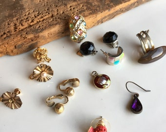 Mixed Lot of Mismatched Earrings, Cloisonne, Post Earrings, Clip Ons, Angel Pin, Reuse, Recycle, Upcycle